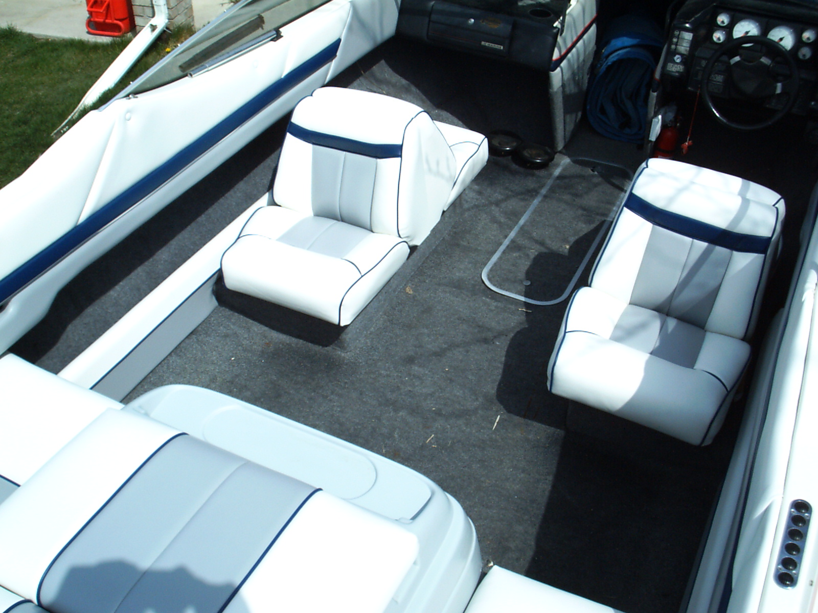 Boat captains chairs - This Boat Started With Two Captains Chairs And Rear Jump Seats We Designed A Wrap Around Bench For The Customer And Made More Seating